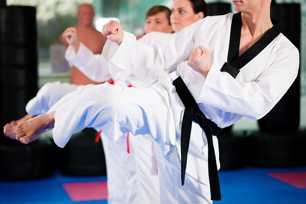 adult martial arts students training